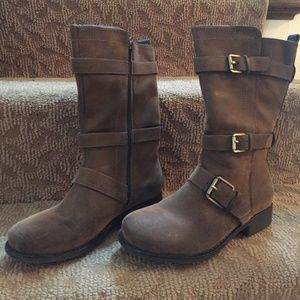 Faux Brown Leather / Suede Boots With Gold Buckles